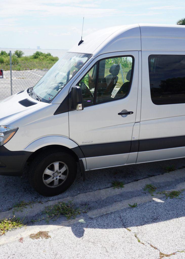 Sprinter van converted into RV traveler.