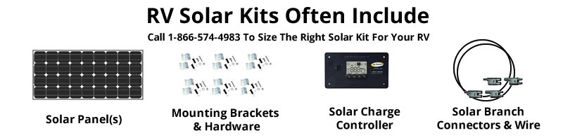 The kit parts that are used to add solar to an RV.