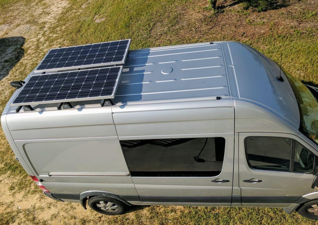 Elite solar kit roof mounted on Sprinter van.