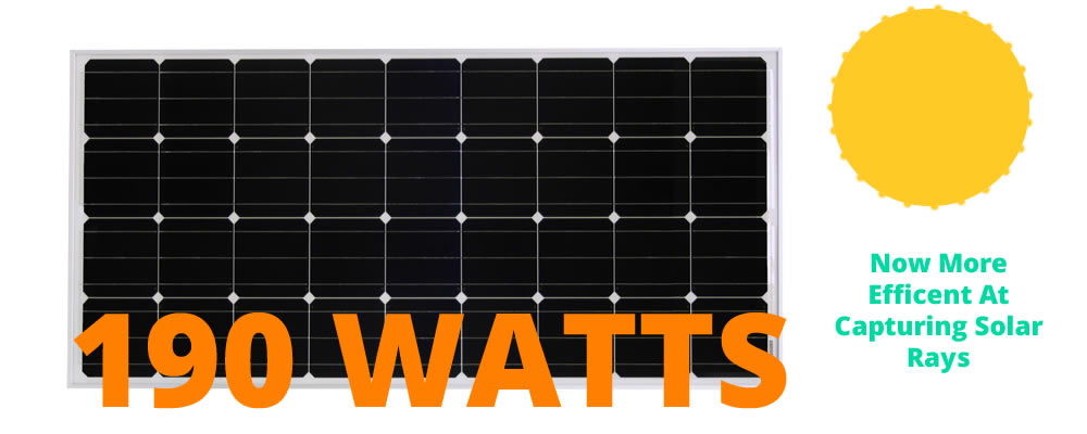 New more efficient 190 watt solar panel.