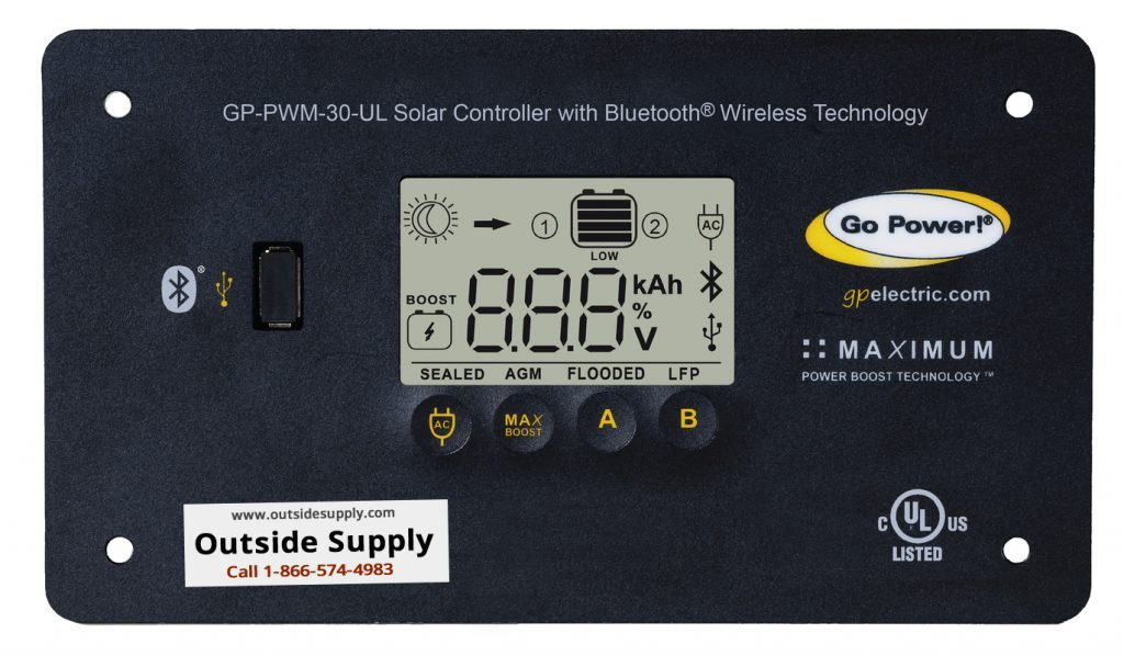 Th Go Power PWM 30 amp RV solar charge controller for lithium battery banks.