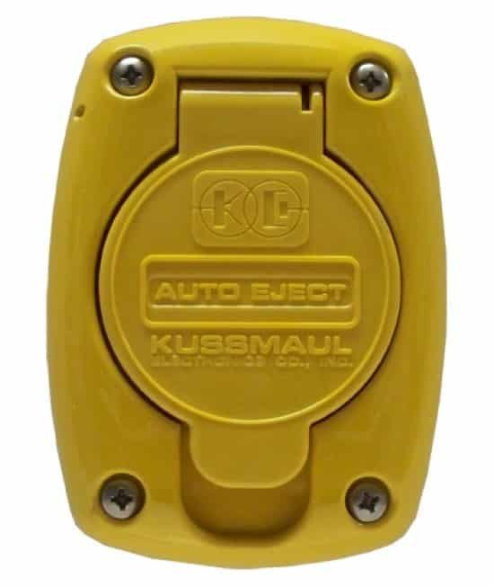 Weatherproof super auto eject cover in the color yellow made by Kussmaul