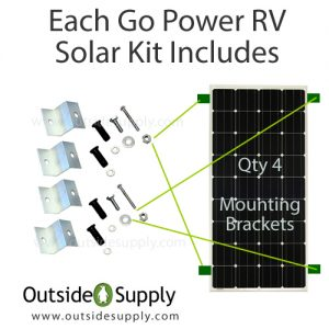 RV Solar Kit Mounting Brackets for securing RV solar panel to 4 points on RV Roof.