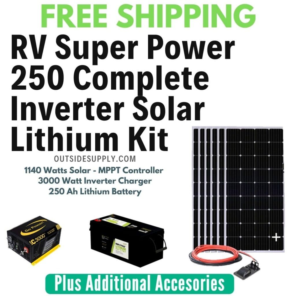 Complete RV power kit including solar panels, inverter charger and lithium battery bank for house batteries.