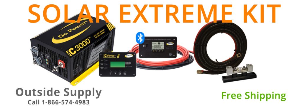 Solar Extreme Kit by Go Power includes 570 watts of solar, IC 3000  inverter charger and all the accessories needed.