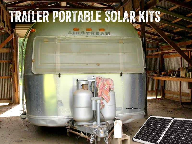 Airstream travel trailer with a  portable solar kit.