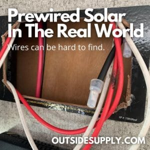 Pre wired solar cables where charge controller is to be hooked up.